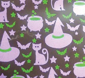 TRANSFER SHEETS - PRINTED WITH GREEN & PURPLE WITCH HATS , COOKING POTS AND CATS