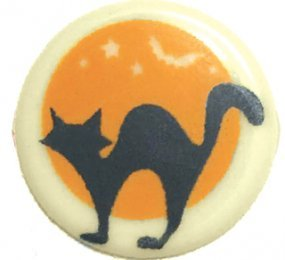 CHOCOLATE BLISTERS - ROUND CAVITIES - PRINTED WITH BLACK CAT & ORANGE MOON
