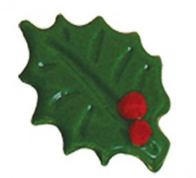 DARK CHOCOLATE 2D HOLLY LEAVES - GREEN PRINTED WITH RED SMALL DOTS