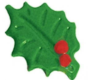 WHITE CHOCOLATE 2D HOLLY LEAVES - GREEN PRINTED WITH RED SMALL DOTS