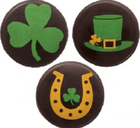DARK CHOCOLATE ROUNDS - PRINTED WITH GREEN AND GOLD YELLOW ST-PATRICK DAY'S PATTERN
