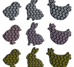 DARK CHOCOLATE BUNNIES. CHICKENS & CHICKS  - PRINTED WITH LAVENDER, WHITE & YELLOW SMALL FLOWERS
