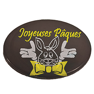 DARK CHOCOLATE OVALS - PRINTED WITH YELLOW & WHITE BUNNY ''JOYEUSES PÂQUES''