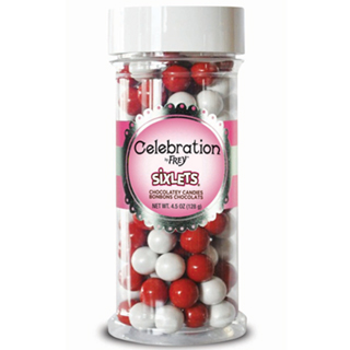 CHOCOLATE PEARLS - RED & WHITE MIX - 10mm