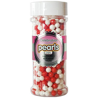SUGAR PEARLS - RED & WHITE MIX - 7mm