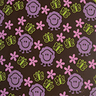 TRANSFERT SHEETS - PRINTED WITH LAVENDER LAMB , PINK FLOWERS AND BRIGHT GREEN BUTTERFLIES