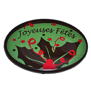 CHOCOLATE BLISTERS - OVAL CAVITIES - PRINTED WITH GREEN & RED HOLLY LEAF ''JOYEUSES FÊTES''